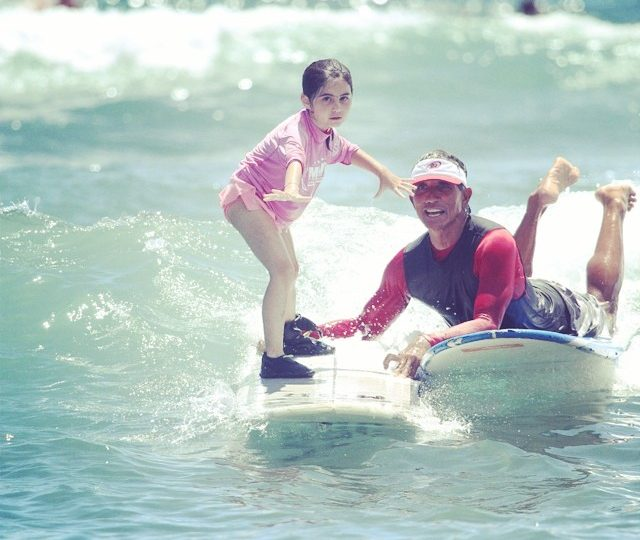 My little girl catching waves, her instructor said she was fearless #soproud #firsttimesurfing