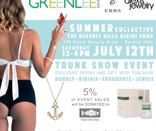 Join us in 2 days for some Bubbly + Bikinis + Jewels + Fragrance!! 12-4pm at the Beverly Hills Bikini Shop.  A percentage of proceeds will go to @healthebay.  No better way to spend your Saturday! @thebeverlyhillsbikinishop @greenleeswim @missmarisabyebba #alexisjewelry #healthebay #trunkshow
