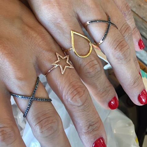 When one of your good pals tells you she'll take one of each 🏻 #alexisjewelry #rings #bling #bluesapphire #blackdiamonds #diamonds #14kgold #yellowgold #stars #x's #gobig #stackemup #moreismerrier #finejewelry #tbt  #friendsrule #madeinla