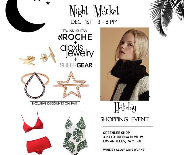 Get your shop on with us next Friday, Dec 1st!! Black Friday deals without the crowds 🏻 #greenleeswim #stroche #sheergearhandbags #alexisjewelry #alloywineworks #nightmarket #trunkshow #shopholiday #gifts #holiday #sale